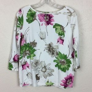 Talbots ¾ Sleeve White Floral Tee Size M